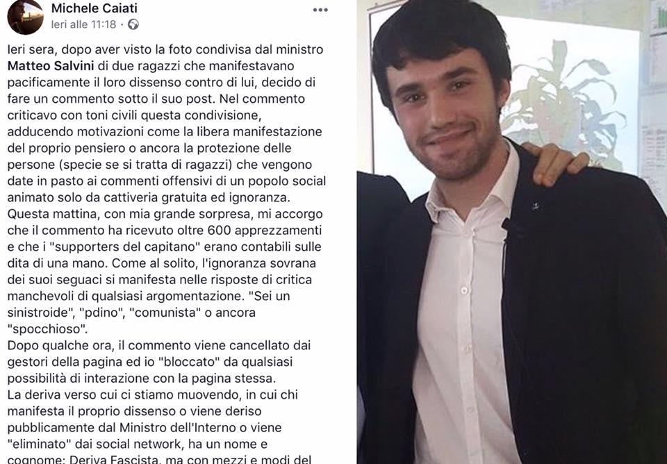 Critica Salvini sui social, ragazza insultata su Facebook.